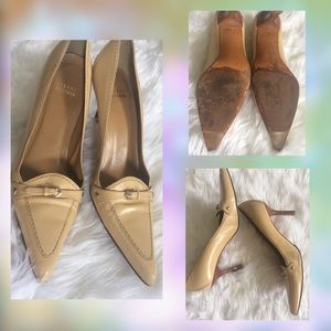 Stuart Weiztman Pointy Toe Cream Leather Heels